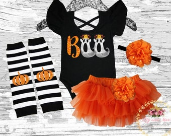 ffe8f6875 1st Halloween baby girls outfit, Halloween girls outfit, Halloween girls  costume, Halloween girls smash cake outfit, BOO flutter sleeve leo