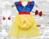 Snow White Birthday Romper Outfit, Snow White girls outfit,Snow White costume ,1st birthday girls outfit, Snow White tutu romper