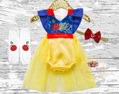 Snow White Birthday Romper Outfit, Snow White girls outfit,Snow White outfit,1st birthday girls outfit, Snow White tutu romper