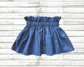 Denim girls skirt,Denim Birthday sprinkle skirt,Denim baby skirt,Denim 1ST birthday skirt,Denim girls fabric paper bag waist skirt