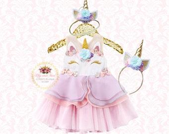 96fac5a23e2d Unicorn Dress, Unicorn headband, Unicorn Birthday outfit, Unicorn tutu dress,  Rainbow unicorn set, Unicorn Girls Costume, unicorn dress