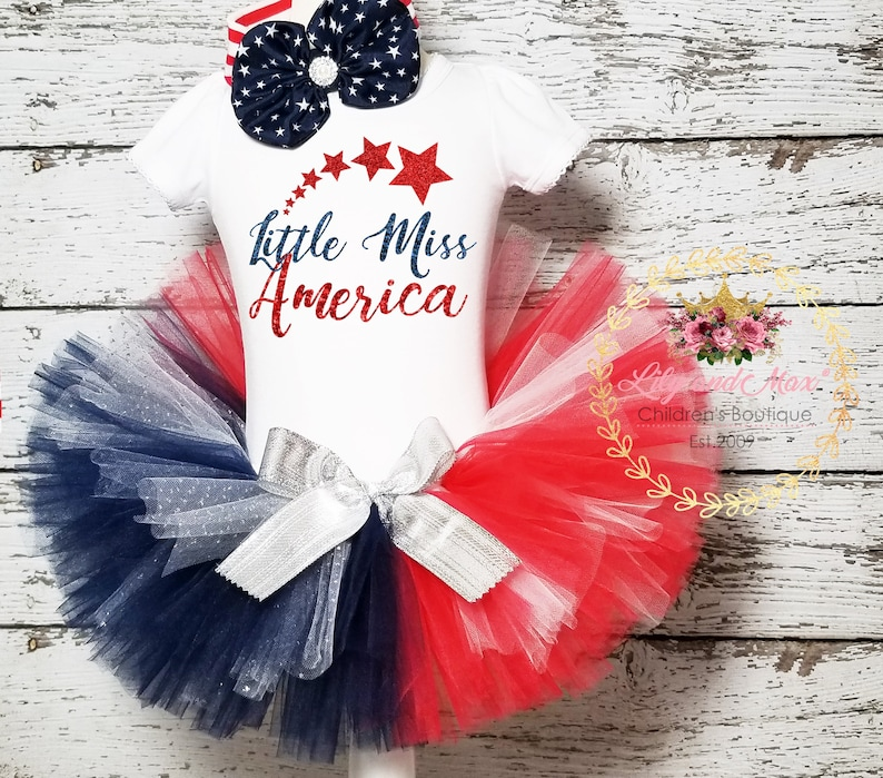 Little Miss America girls outfit 4th of July baby girls outfit Miss America bodysuit,4th of July tutu Patriotic outfit,first fourth girls