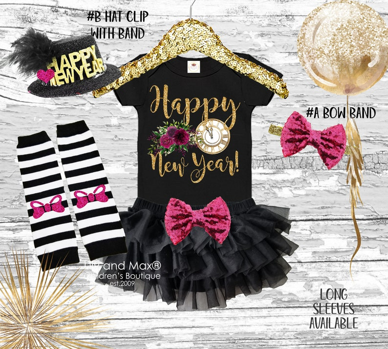 Happy New Years EVE clock baby outfit Happy New year 2019 girls outfit HELLO 2019 girls outfit set 1st New Year girls Outfit