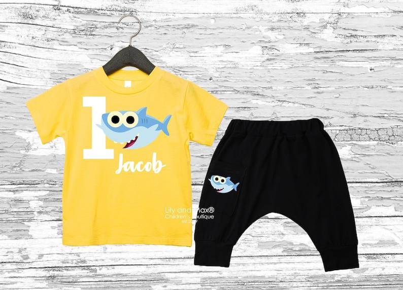 1st boy birthday Shark Birthday boy Outfit boy outfit Shark birthday boy bodysuit Baby shark boy pant set black soft  comfy boy pants
