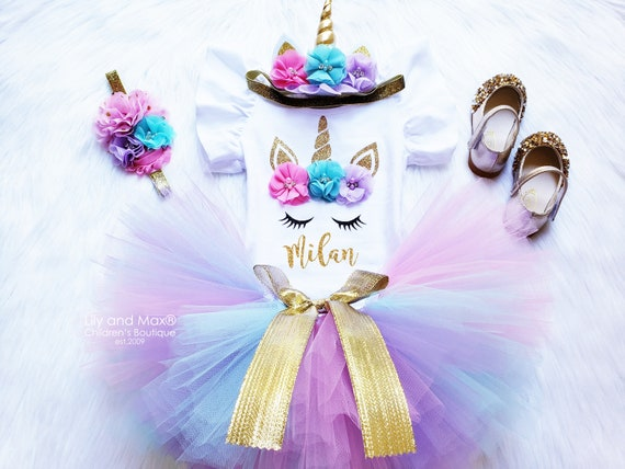 PINK Unicorn Girls Costume Unicorn Birthday Outfit Unicorn headband Unicorn rainbow tutu set Rainbow unicorn birthday outfit set