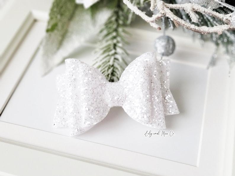 WHITE silver glitter leather bow alligator clip WHITE silver glitter bow clip GLITTER bow clips bow alligator clip Glitter bow clip