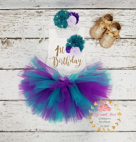 1st birthday Romper mermaid birthday tutu set 1st Birthday Outfit purple and teal tutu set first birthday smash cake outfit