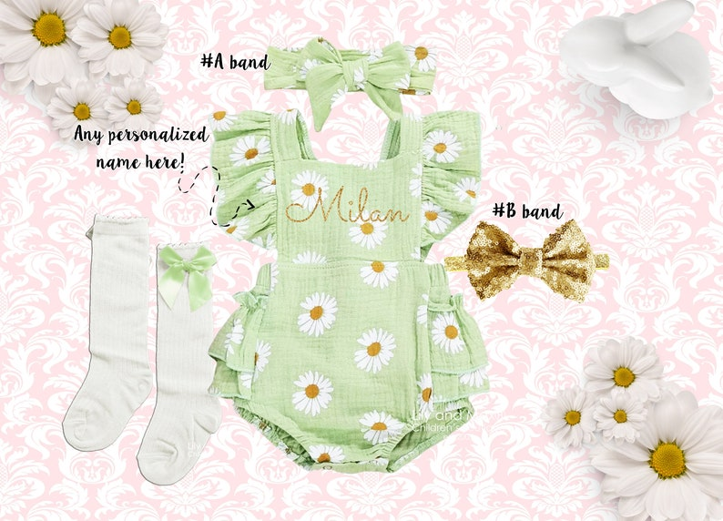 1st birthday baby girl outfit Personalized baby girl romper Summer boho daisy girl romper Outfit Monogrammed romper green romper girls