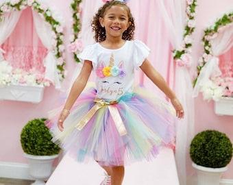 Unicorn Birthday Outfit, Unicorn headband, Unicorn rainbow tutu set, Rainbow unicorn birthday outfit set, Rainbow Unicorn Girls Costume