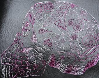 Sotis embroidery file skull in sizes 13 x 18, 16 x 26 frame