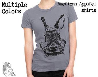 Women's Rabbit T-shirt, Tee, American Apparel, Bunny, Cute, Animal, Animals, Furry, Adorable, Cute Gift