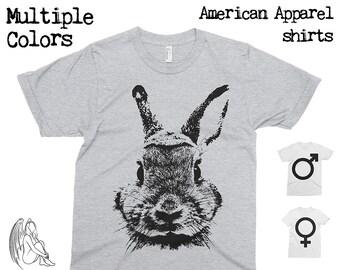 Rabbit T-shirt, Tee, American Apparel, Bunny, Animal, Animals, Furry, Adorable, Pet, Cute Gift