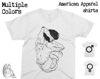 Sitzender Rückenakt - Egon Schiele T-shirt, Tee, American Apparel, Art, Gustav Klimt, Munch, van Gogh, Mondrian, Braque, Cute Gift