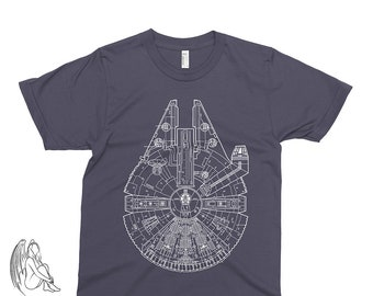 2dc74a45 Millenium Falcon Blueprint T-shirt, Tee, American Apparel, Star Wars, Darth  Vader, Luke Skywalker, obi wan, Yoda, R2D2, C3PO, Cool Gift!
