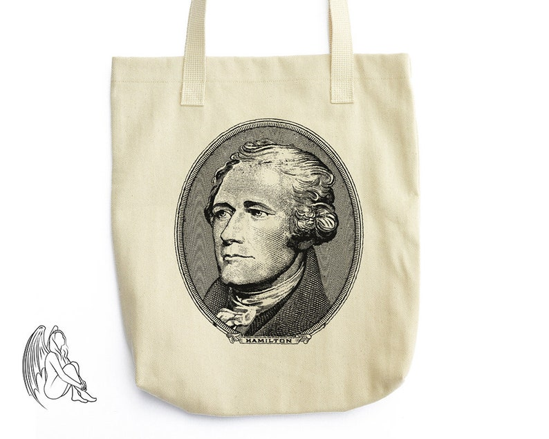 e745aa7d3e34 Alexander Hamilton Tote Bag LA Apparel Founding Father | Etsy