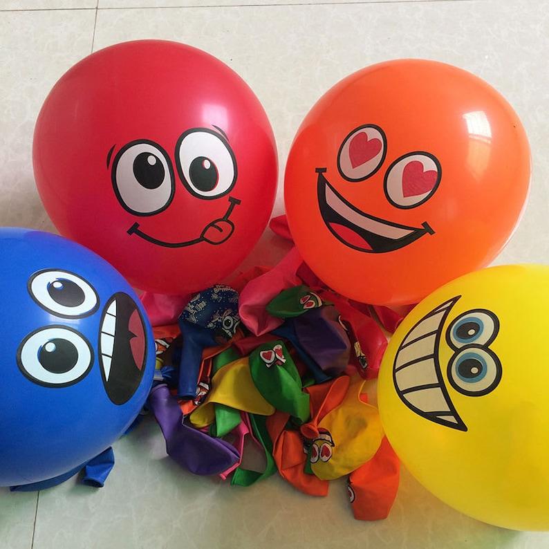 100pcslot Printed Big Eyes Smiley Air Balloon Happy Birthday Party Decoration Ballons Inflatable Latex Balls Kid Toys 476
