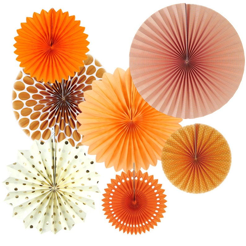 Set of 7 Orange Theme DIY Paper Crafts Paper Fans Rosettes Photo Backdrop  for Birthday Wedding Baby Shower Party Hanging Decor