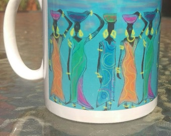 Ceramic mug: African Women design, original artwork by Zita Holbourne