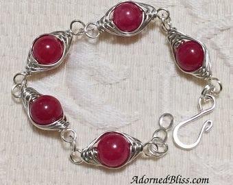 Red Herringbone Bracelet / Jewelry / Link Bracelet / Wirework / Women's Fashion / Herringbone / Ladies's Gifts / Silver Bracelet / Red