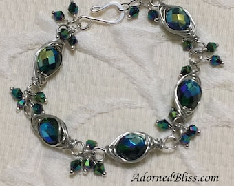 Emerald AB Bracelet / Jewelry / Herringbone / Crystal Bracelet / Women's Fashion / Link Bracelet / Wire Weave / Handmade / Green Bracelet