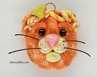 Polymer Clay Cat Pendant, Handmade, Cat Lovers, Cat Pendant, Orange Cat, Whimsical Cat, Kitty Necklace, Cat with Heart, OOAK