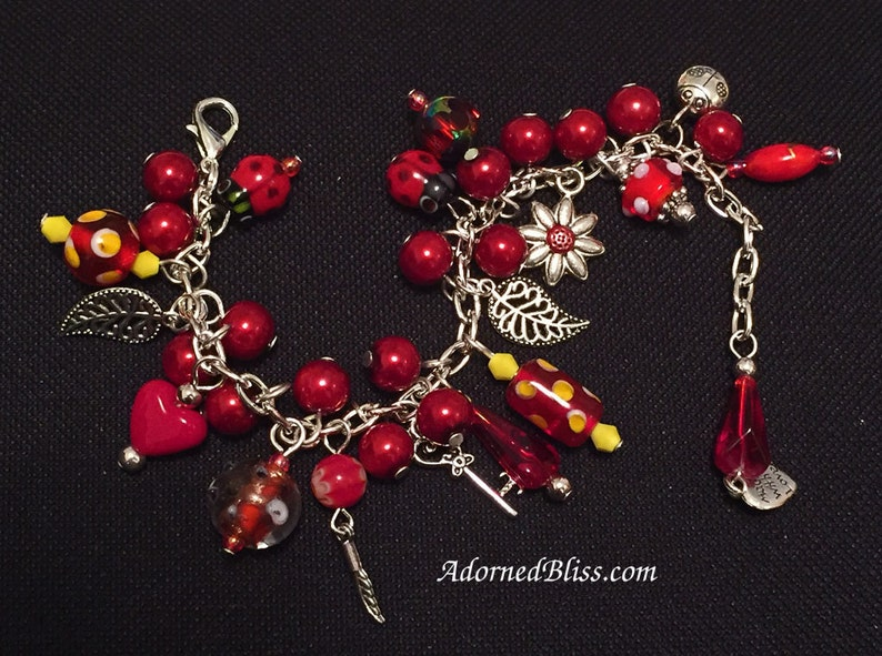 Red Charm Bracelet / Charm Bracelet / Red Silver Bracelet / image 0