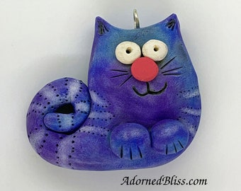 Blue Sgrafitto Cat Pendant, Polymer Clay, Whimsical Cat, Purple, Cat Lover, Kitty Necklace, OOAK, Handmade