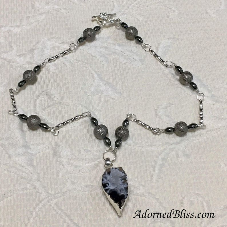 Gray Druzy Necklace and Earring Set / Ladies Fashion / Gray / image 0