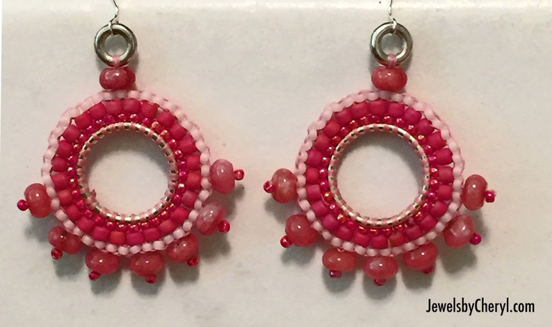 Pink Seed Bead Hoop Earrings / Rhodolite Garnet / Jewelry / image 0