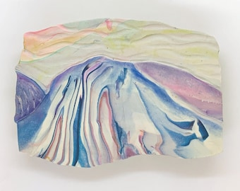 Mountain Landscape, Polymer Clay, Blue & Purple Scenery, Wall Decor, Polymer Clay Picture, Handmade, OOAK