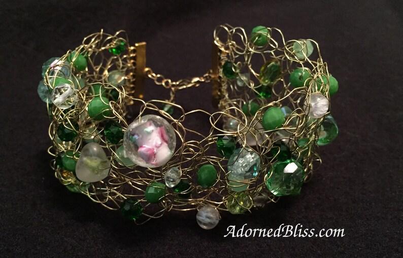 Green Wire Crochet Cuff Bracelet / Crochet Bracelet / image 0