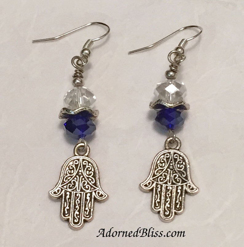 Cobalt Crystal Hamsa Earrings / Crystal Earrings / Hamsa image 0