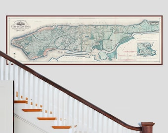 New York City - Huge Topographical Panoramic Historical Map Print | Gigantic Home Decor Vintage Hardware Restoration Style Giclee Map Print