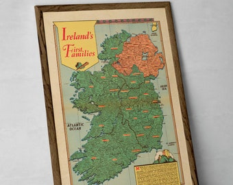 Irish Families Clan Map | Giclée Reproduction, vintage wall art, home decor – Ireland's Genealogy, old poster of Irish Family Names