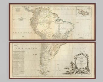 Map of South America | Old Argentina, Bolivia, Brazil, Chile, Colombia, Ecuador, Paraguay, Peru, Uruguay, and Venezuela | Huge x2 Map Print
