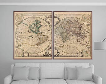 "GIANT Old Map of The World | Gigantic Pair of Old Maps – Historical World Atlas Print – Huge Mapa mondi 24x30"" x2 Prints"