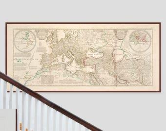 HUGE Ancient Roman World Map - MASSIVE Old Map of the World - Roman Empire map of the World 400AD,    Large Format Fine Art Giclée Print