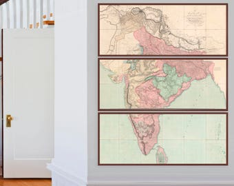 Gigantic Map of India | Three Historical Maps that show India in Great Detail; Mumbai, Bombay, Delhi, Calbutta, Madras, Bangalore, Hydrabad
