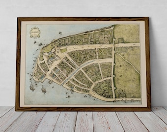 Old New York City, New Amsterdam, historical poster | Fine Art Print from 1610 of NYC, Manhattan, United States of America, Rare Map of USA