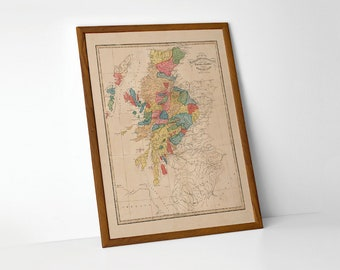 Scottish Clans Map | Giclée Reproduction, antique wall art, home decor of Scottish Genealogy, old map of Scotland Clans Chart from 1822