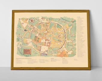 An Old Map of Santiago de Compostela | Route of Camino | Historical Plan of the City of Santiago, Galicia | Vintage Map Print from Spain
