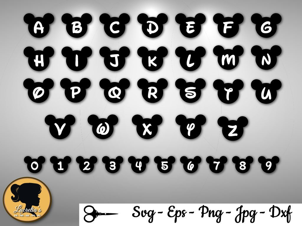 Mickey mouse alphabet Mickey head font Svg Disney Font Svg