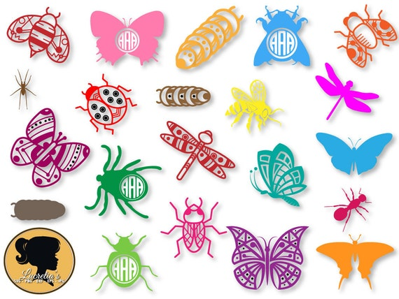 Lady Bug Monogram frames Bugs Design Butterfly SVG Cut | Etsy