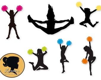 Cheerleaders  Silhouettes, Cheerleaders svg, Cheerleaders , SVG files for Silhouette Cameo or Cricut, vector, .svg, dxf eps