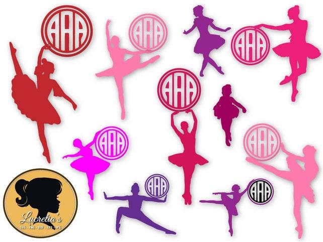 Ballerina monograma Marcos SVG bailarín monograma marco SVG | Etsy