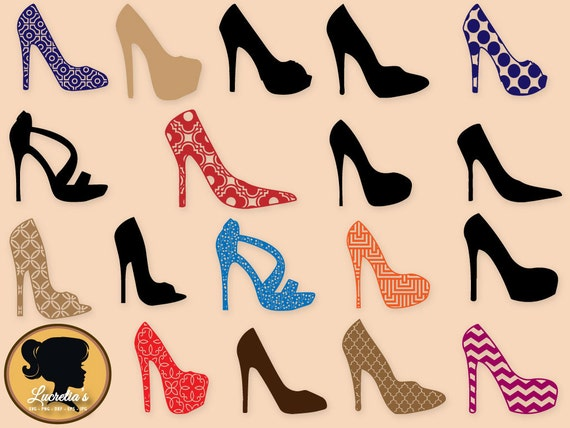Patterned High Heel Pump Shoe Silhouette Background SVG Cut Etsy New Patterned Heels