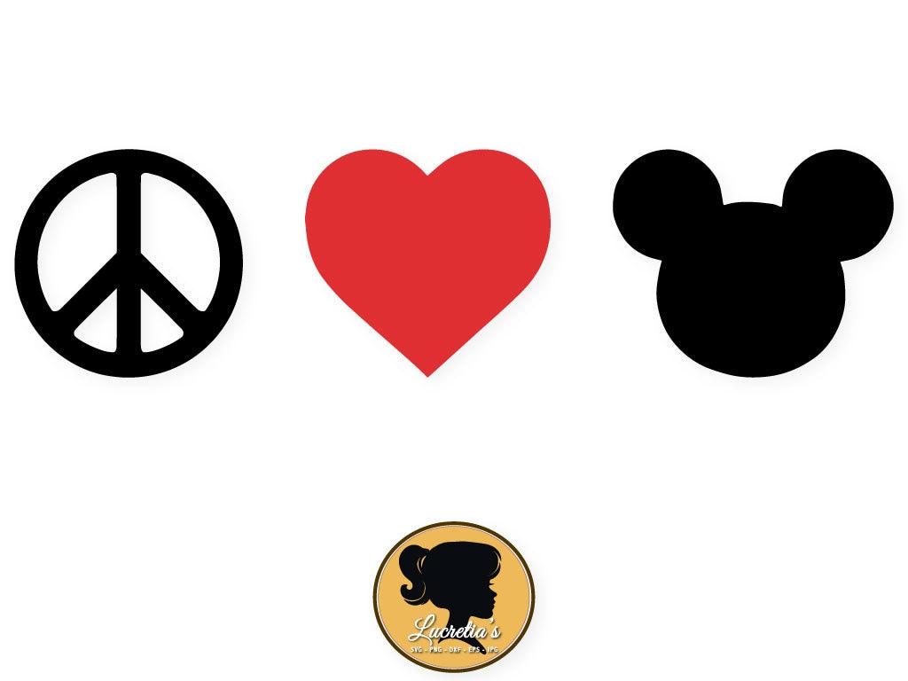 Mickey Peace Love Svg Heart Peace Love Silhouette Love Etsy