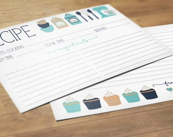 Recipe Cards Set of 15, 30 or 50 - Kitchen & Cupcakes - 4x6 Recipe Cards