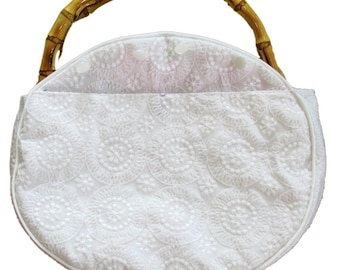 Bermuda bag COVER Only WItH a FRONT POCKET in White Eyelet. Cover is Custom Handmade Read Description Below