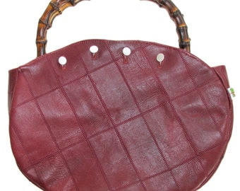Bamboo Handle Bermuda Bag with ITALIAN Calfskin Leather cover! CUSTOM HANDMADE and Ships for Free!